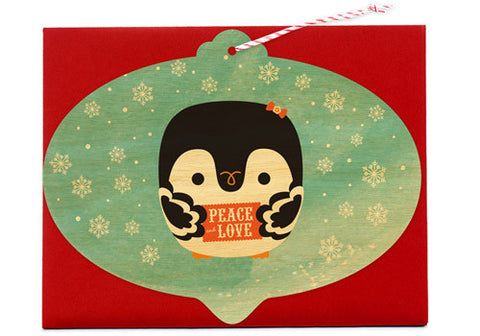 Night Owl Paper Goods Penguin Wooden Ornament Card | Room 2046 Toronto Canada