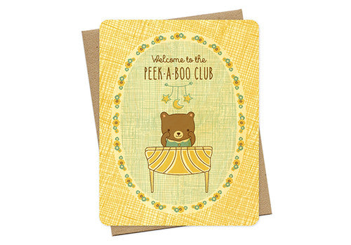 Night Owl Paper Goods Peek-A-Boo Club Baby Wooden Card | Room 2046 Toronto Canada