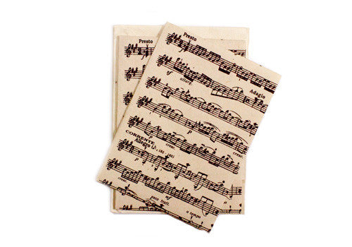 Nepalese Lokta Plant Handmade 5 Note Card Set - Music Note | Room 2046 Toronto Canada