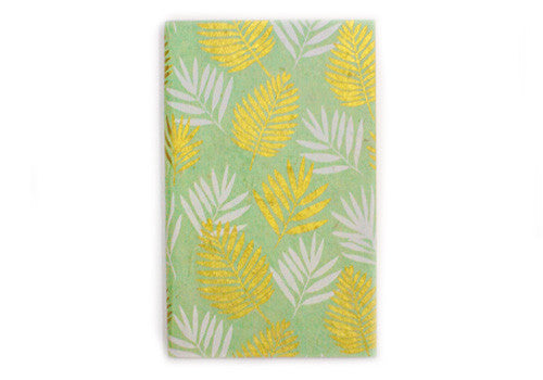 Nepalese Lokta Plant Handmade A2 Blank Notebook - White & Gold Plants on Mint | Room 2046 Toronto Canada