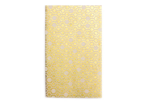 Nepalese Lokta Plant Handmade A2 Blank Notebook - Gold Honeycomb | Room 2046 Toronto Canada