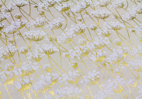 Nepalese Lokta Plant Handmade Wrapping Paper - White & Gold Twigs on Cream | Room 2046 Toronto Canada