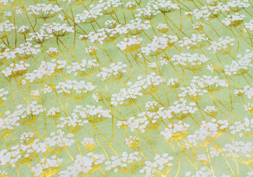 Nepalese Lokta Plant Handmade Wrapping Paper - White & Gold Twigs on Mint | Room 2046 Toronto Canada
