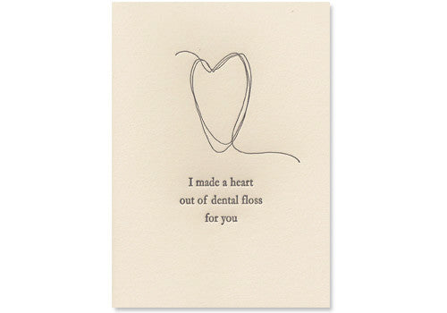 Oblation Papers & Press Dental Floss Heart Letterpress Card | Room 2046 Toronto Canada