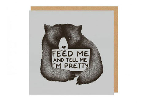 Ohh Deer Feed Me and Tell Me I'm Pretty Square Greeting Card | Room 2046 Toronto Canada