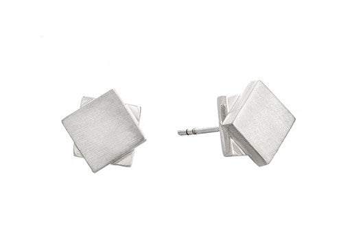 Pico Design Offset Stud Silver Earrings
