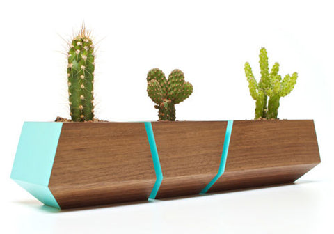 Boxcar Planter Set Walnut Robin Egg Blue