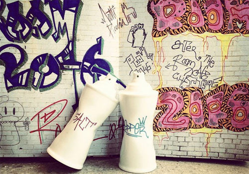 Donkey Graffiti Cans Salt and Pepper Shakers | Room 2046 Toronto Canada