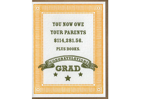 Sugarcube Press You Owe Your Parents Congrats Grad Card | Room 2046 Toronto Canada