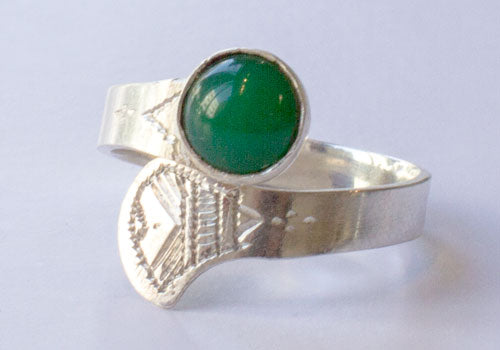 Tuareg Adjustable Green Agate Stone Silver Ring