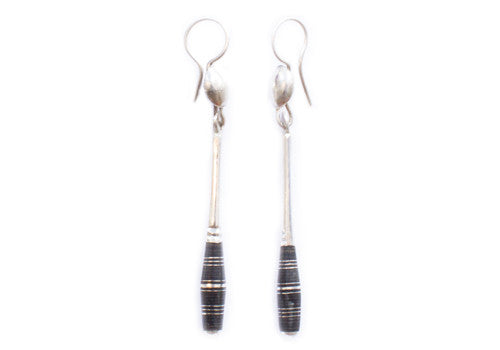 Tuareg Rounded Notched Ebonwood Long Silver Drip Earrings | Room 2046 Toronto Canada