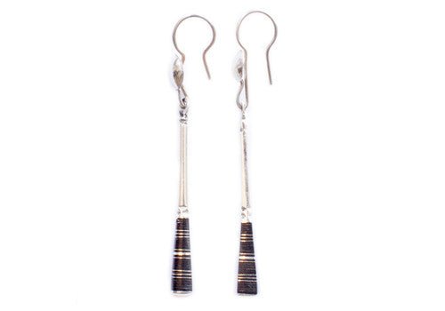 Tuareg Squared Notched Ebonwood Long Silver Drip Earring | Room 2046 Toronto Canada
