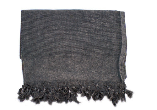 Hand-loomed Cotton Stone-Washed Grey Turkish Blanket | Room 2046 Toronto Canada