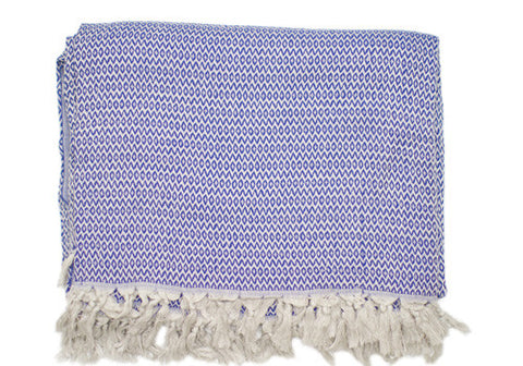 Hand-loomed Cotton Royal Blue Turkish Blanket | Room 2046 Toronto Canada