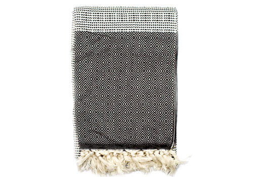 Fine Loom Elmas 450g Cotton Turkish Towel - Black | Room 2046 Toronto Canada