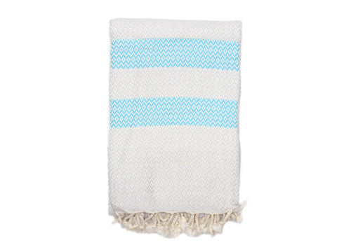 Melm Cotton Turkish Towel - Light Grey & Turquoise | Room 2046 Toronto Canada