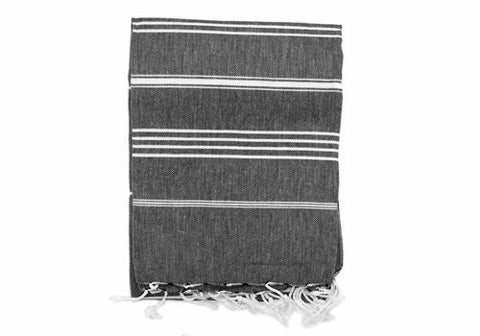 Peshtemal Striped Cotton Turkish Towel - Black | Room 2046 Toronto Canada