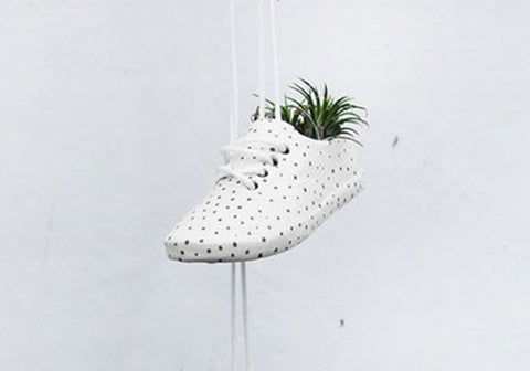 Wyatt Little White Ceramic Large Shoe Pot with Black Dots | Room 2046 Toronto Canada