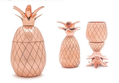 W&P Design Copper Pineapple Tumbler and Shot Glasses Gift Bundle