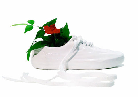 Wyatt Little White Ceramic Shoe Pot | Room 2046 Toronto Canada