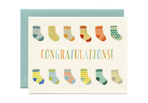 Yeppie Paper Baby Socks Congratulations Greeting Card