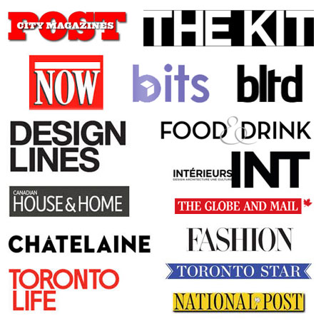 Room 2046 in the press - NOW Toronto Magazine, Post City Magazine, Designlines, Chatelaine, Interieurs Magazine, Canadian House & Home, The Globe and Mail, Ion Magazine, Better Living Through Design, CBC, Fashion Maagzine, Toronto Life, Toronto Star National Post