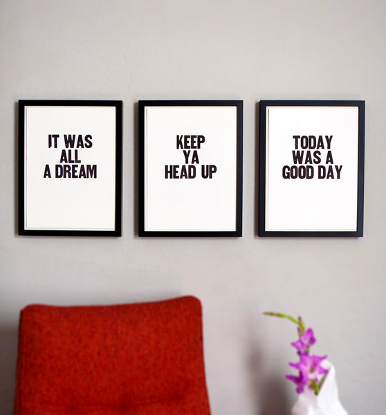 "Image showing framed letterpress poster ""Today Was a Good Day"""