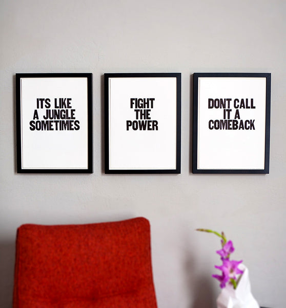 "Image showing framed letterpress poster ""Fight the Power"""