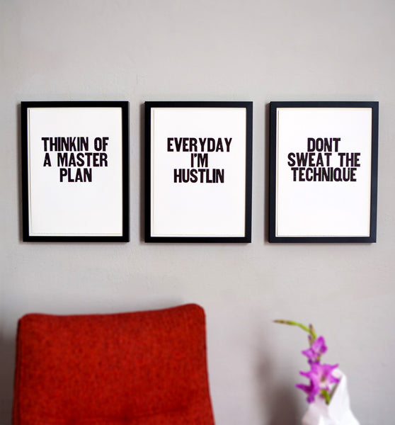 "Image showing framed letterpress poster ""Everyday I'm Hustlin"""