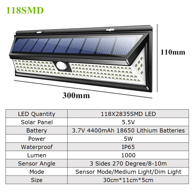 118 LED Solar Lamp 1000 LM 1pc