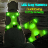 Safety doggie harness/Outdoor safety/Mesh/Led-Green - Safetydoggiecollars