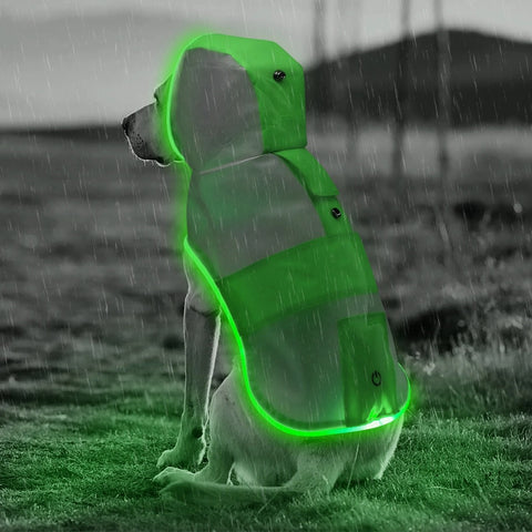 Safety doggie rain coat for night time walks/anti car accident/Nylon material/Led/Green - Safetydoggiecollars