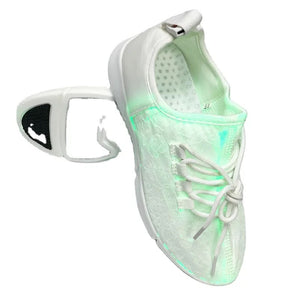 Glow Max 3000 Outdoor Safety Running Shoes for Her, White with Multi-Color