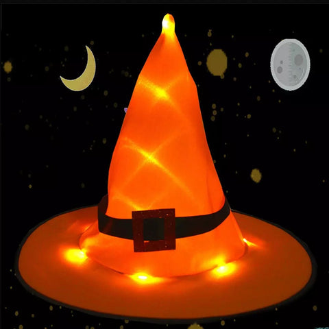 Halloween Wizard Witch Pointed Hat LED