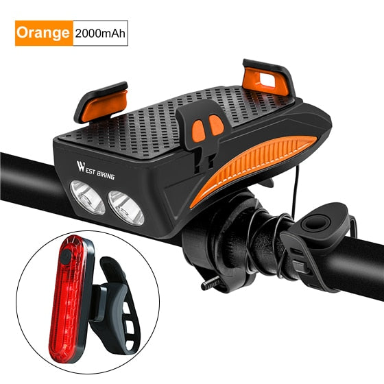 WEST BIKING 400 lumen Multifunction Bike Light With Phone Holder Bicycle Highlight 2000/4000mAh Power Bank Cycling Flashlight