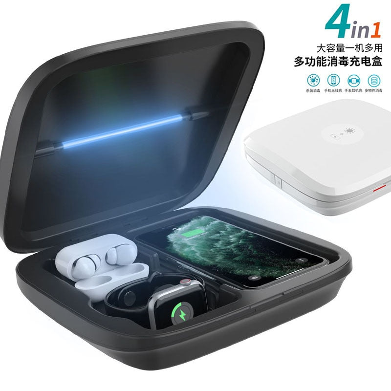4 IN 1 5V Wireless Type C Charger UV Sterilizer Disinfection Box Multifunctional Household Sterilizater Box For phone Mask watch