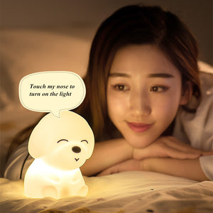 Dog LED Night Light Touch Sensor Rmote Control 16 Colors Dimmable USB Rechargeable Silicone Puppy Lamp for Children Kids Baby