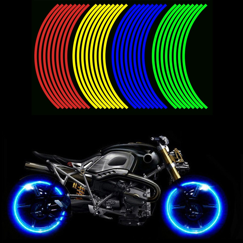 16 Pieces Universal Waterproof Motorcycle Wheel Rim Reflective Stickers Moto Bicycle