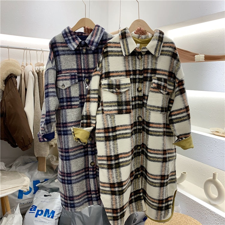 Turn Down Collar Women Woolen Coat Plaid Print Elegant Wool Jacket Women Autumn Long Coat