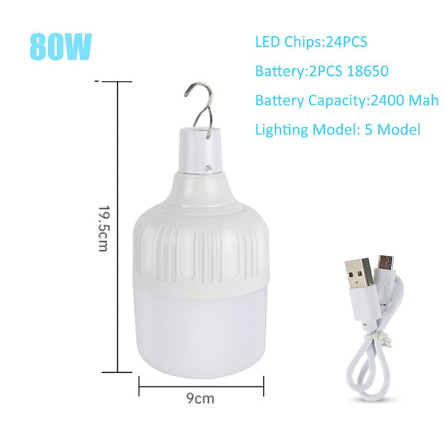 LED Camping Light USB Rechargeable Bulb For Outdoor Camping Lamp 5 Model Portable Lanterns Emergency Lights For BBQ Hiking