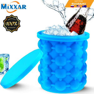 Portable 2 in 1 Large Silicone Ice Bucket Mold with Lid Space Saving Cube Maker Tools for Kitchen Party Barware