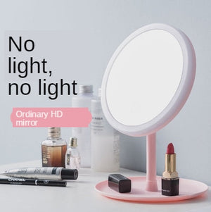 Desktop Vanity Mirror With Led Light, Pink Student Dormitory Table Makeup Mirror Ring Shape