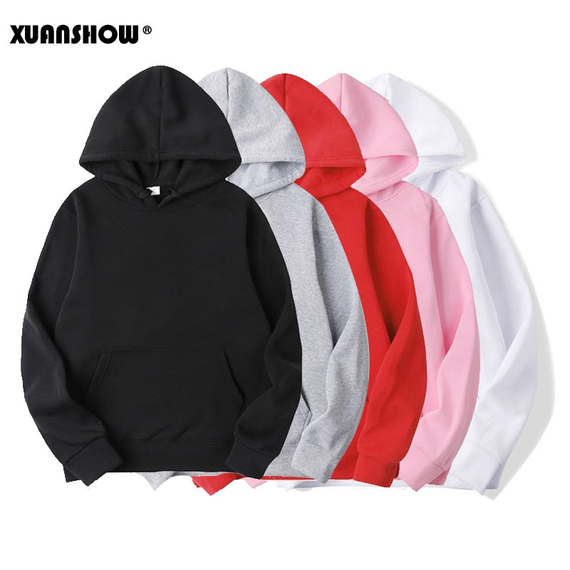 Casual BLACK WHITE RED PINK GRAY HOODIE