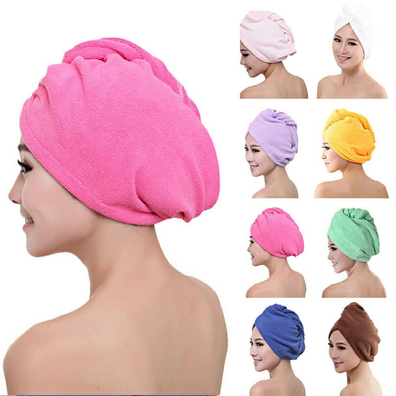 VIP LINK-Microfibre After Shower Hair Drying Wrap Womens Girls Lady's Towel Quick Dry Hair Hat Cap Turban Head Wrap Bathing Tool