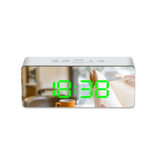 MGlobal LED Mirror Alarm Clock Digital Snooze Table Clock Wake Up Light Electronic Large Time Temperature Display Home Decoration Clock