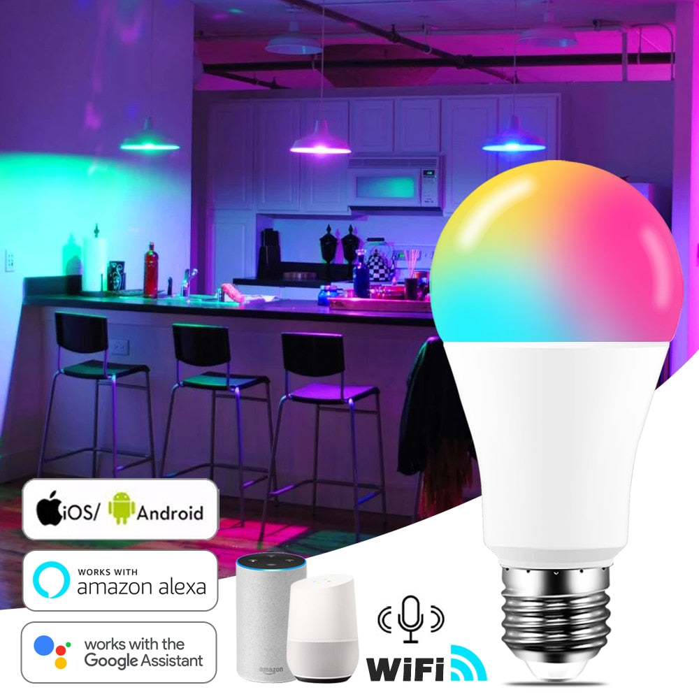 15W WiFi Smart Light Bulb B22 E27 LED RGB