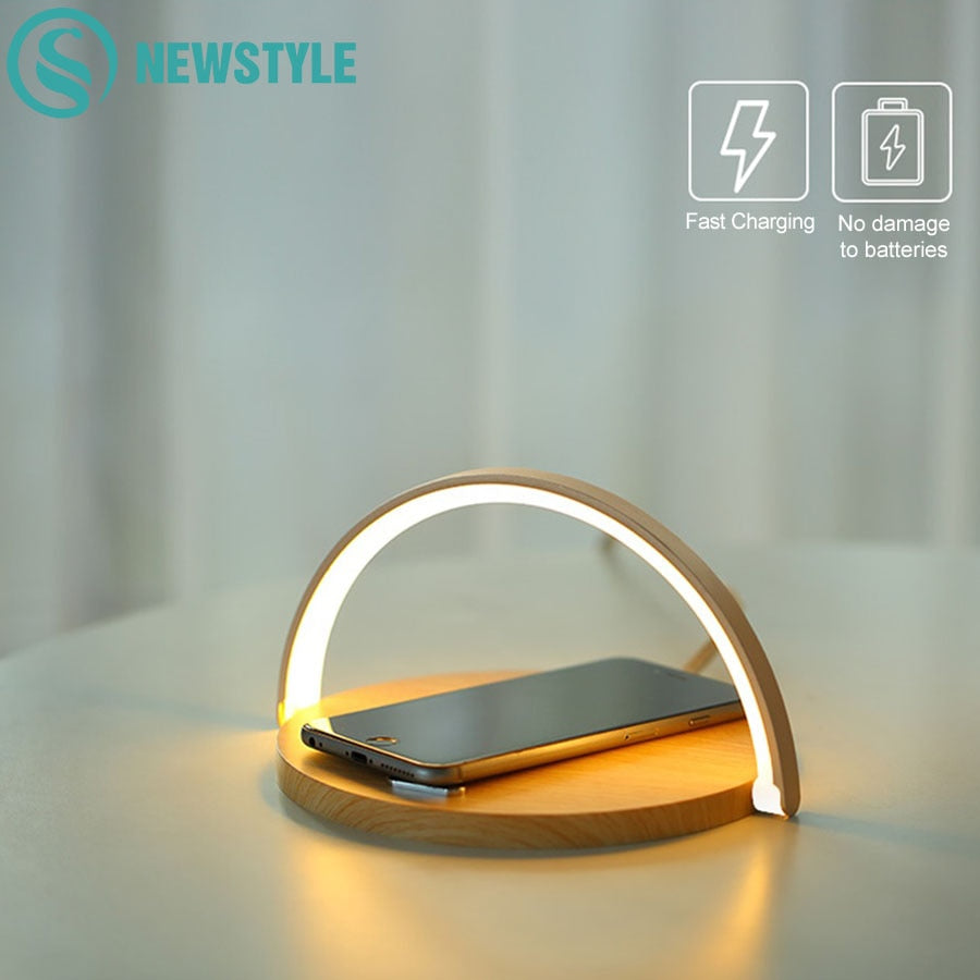 10W Qi Fast Wireless Charger Table Night Lamp For iPhone X XR XS Mobile Phone Charging Holder Night Light Pad Phone Stand
