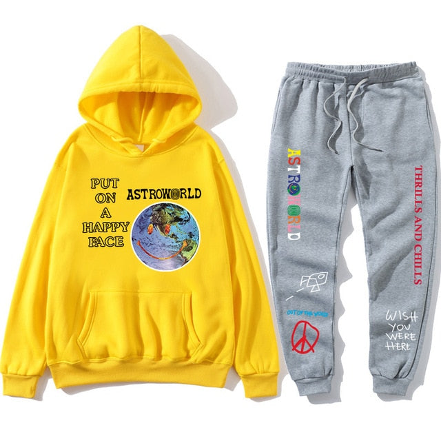 TRAVIS SCOTT ASTROWORLD hope you are here HOODIES fashion letters ASTROWORLD HOODIE streetwear + pants men's pullover sweatshirt