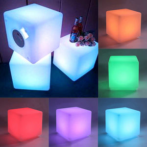 20cm LED Cube Chair Rechargeable RGB Color Remote Control Waterproof Mood Light Lamp Stool Bar Seat Wedding Scene Pool Party