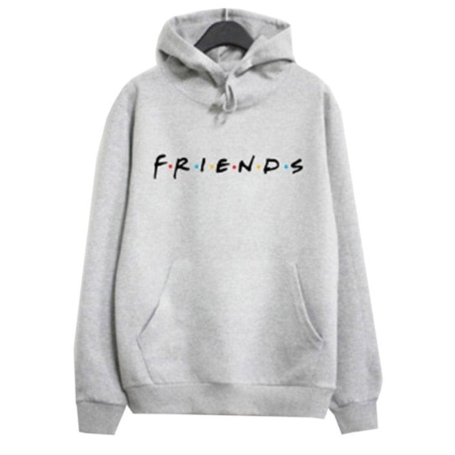 Women Friends Hoodies Harajuku Letters Print Pocket Warm Thicken Pullovers